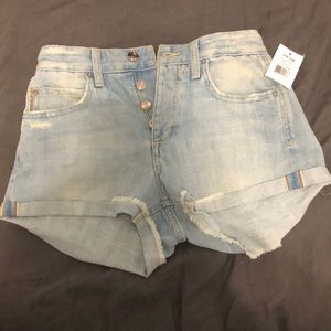 Joe's Charlie button up high rise rolled shorts